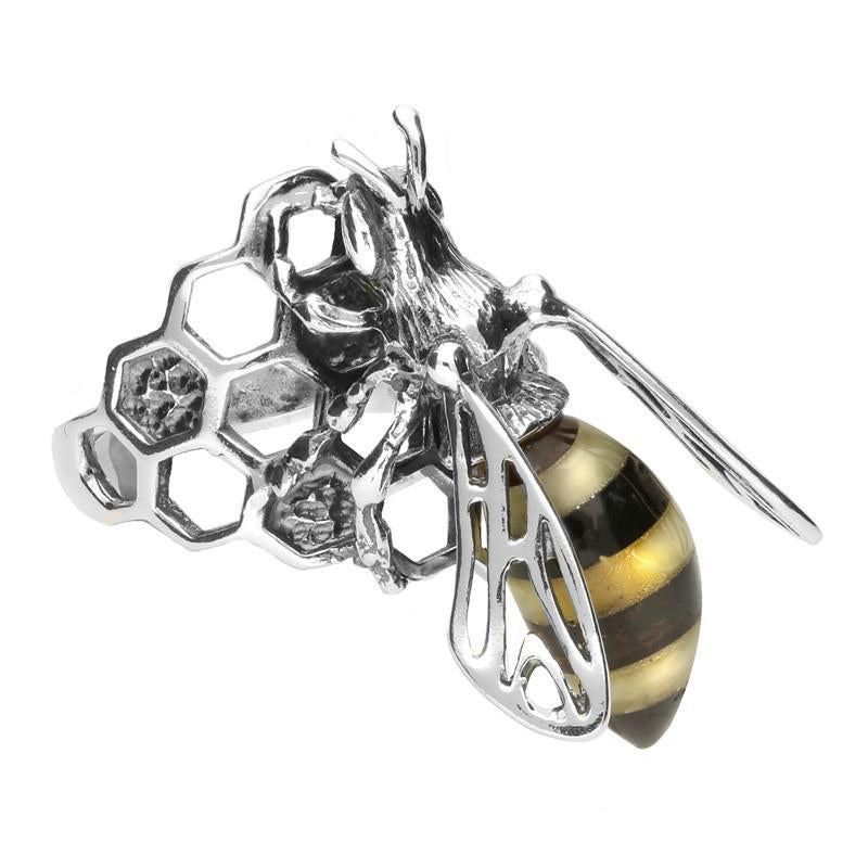 Sterling Silver Amber Honeycomb Bee Ring