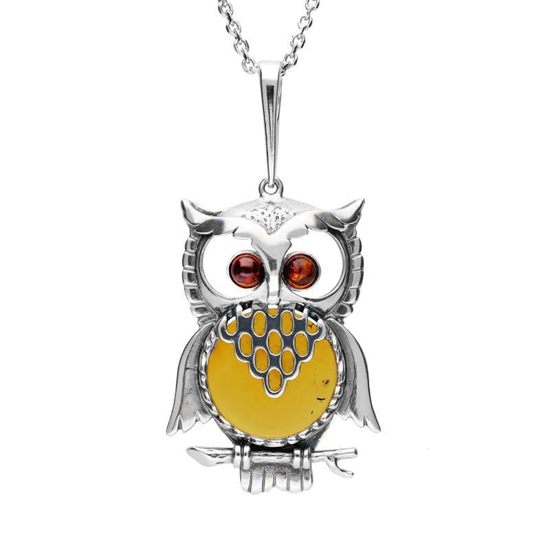 Sterling Silver Amber Large Owl Necklace