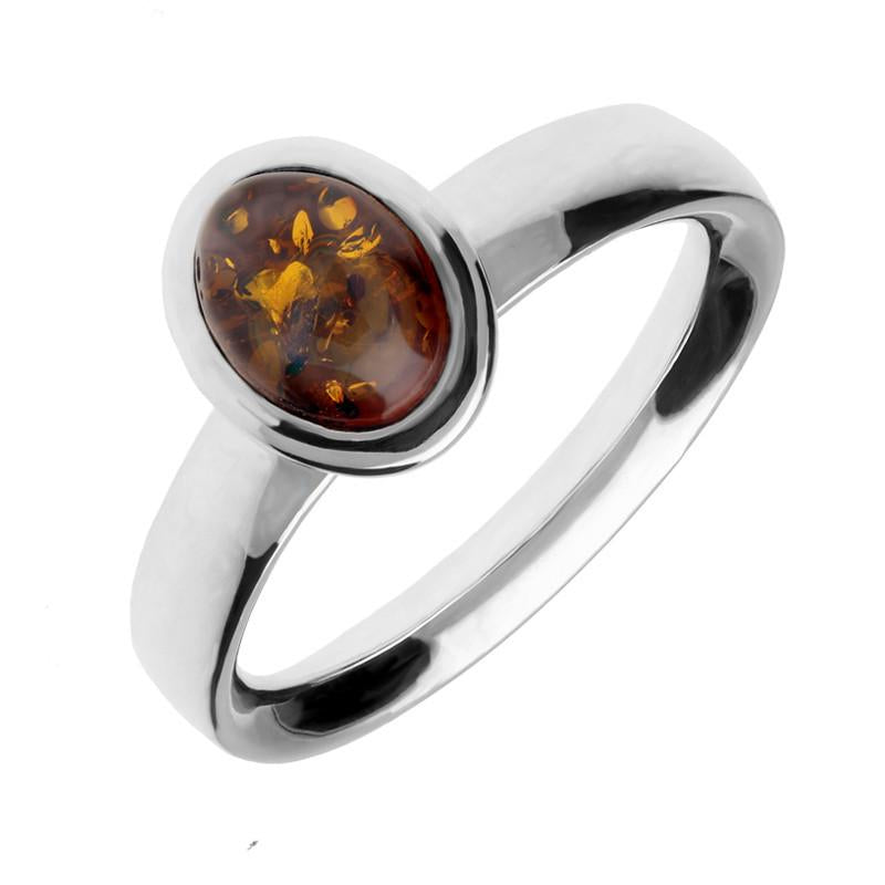 Sterling Silver Amber Oval Domed Ring