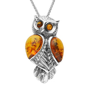 Sterling Silver Amber Owl Necklace P3151