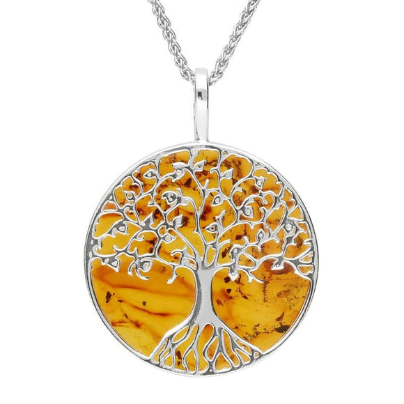 Sterling Silver Amber Round Tree Of Life Necklace P3146