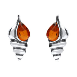 Sterling Silver Amber Shell Stud Earrings E2333