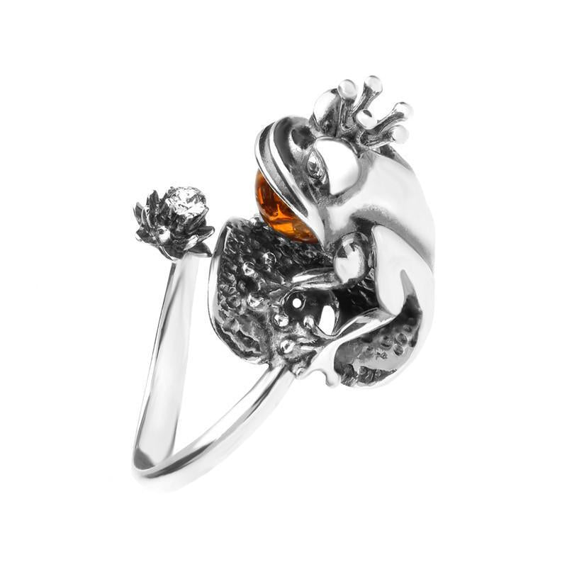 Sterling Silver Amber Sitting Frog Ring