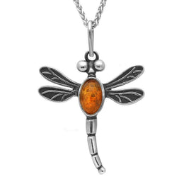 Sterling Silver Amber Small Dragonfly Necklace