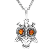 Sterling Silver Amber Small Owl Necklace P3157