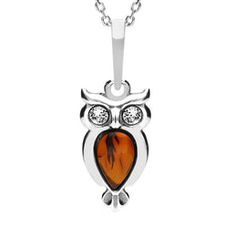 Sterling Silver Amber Cubic Zirconia Small Owl Necklace, P3156.