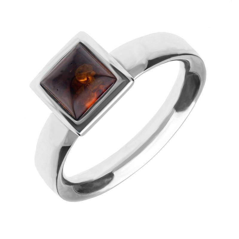 Sterling Silver Amber Small Square Domed Ring