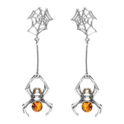 Sterling Silver Amber Spider Web Drop Earrings, E2332.