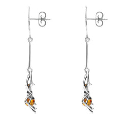 Sterling Silver Amber Spider Web Drop Earrings E2332