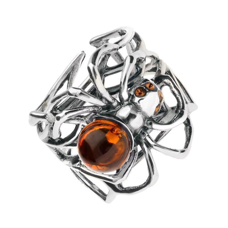 Sterling Silver Amber Spider Web Style Ring