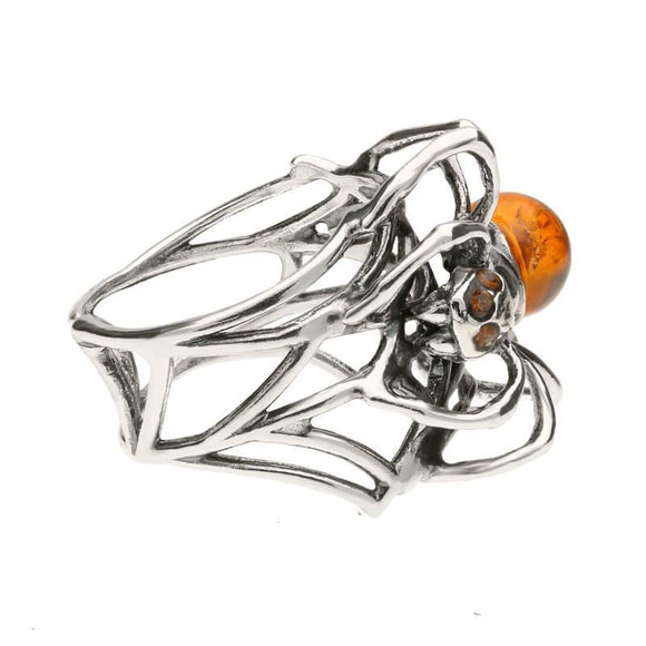 Sterling Silver Amber Spider Web Style Ring R1063