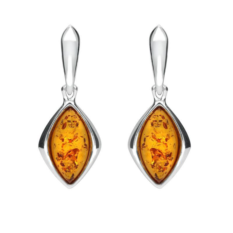 Sterling Silver Amber Wide Marquise Open Back Drop Earrings