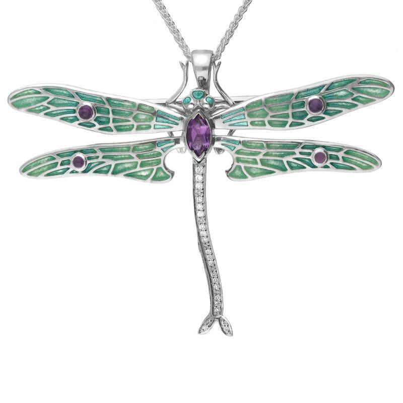 Sterling Silver Amethyst Diamonds House Style Dragonfly Brooch Necklace