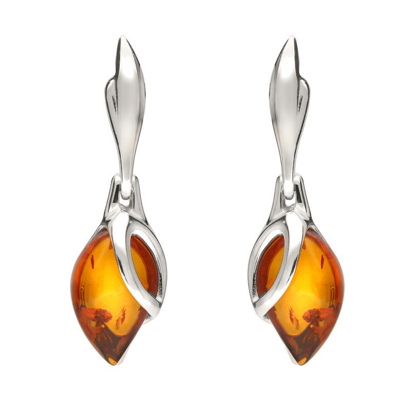 Sterling Silver Baltic Amber Leaf Drop Earrings