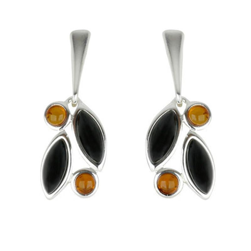 Sterling Silver Baltic Amber Whitby Jet Drop Earrings