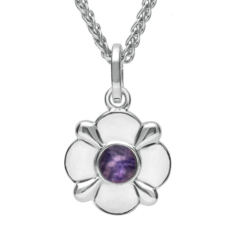 Sterling Silver Blue John Four Petal Flower Necklace