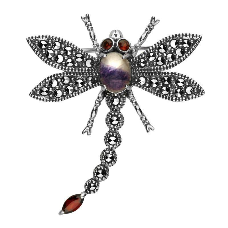 Sterling Silver Blue John Marcasite Garnet House Style Dragonfly Brooch