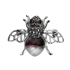 Sterling Silver Blue John Marcasite Garnet House Style Honey Bee Brooch