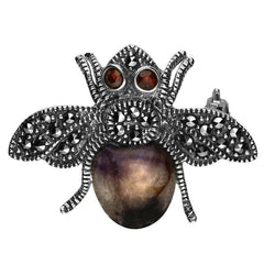 Sterling Silver Blue John Garnet and Marcasite Bee Brooch