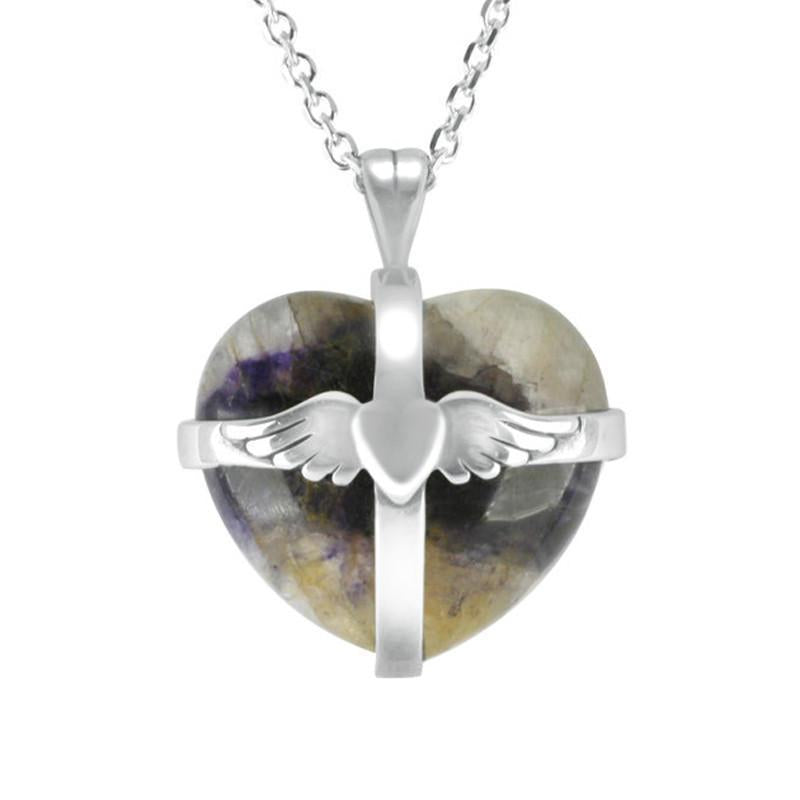 Sterling Silver Blue John Medium Winged Cross Heart Necklace
