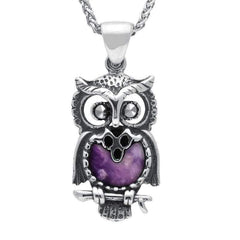Sterling Silver Blue John Small Owl Necklace