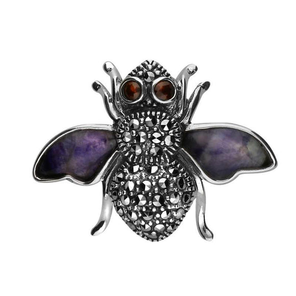 Sterling Silver Blue John Wings Marcasite Garnet House Style Bee Brooch. M330.