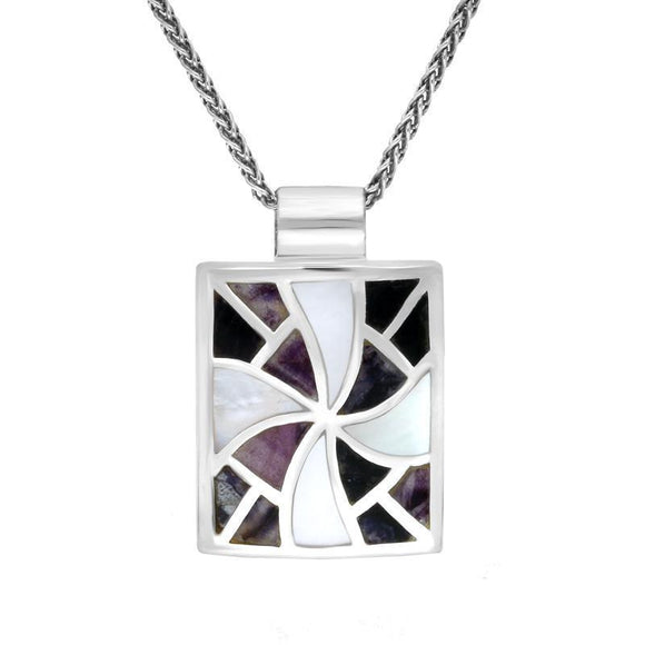 Sterling Silver Blue John and Mother of Pearl Fan Pattern Necklace P1133