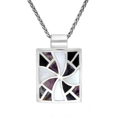 Sterling Silver Blue John and Mother of Pearl Fan Pattern Necklace