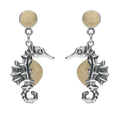 Sterling Silver Coquina Seahorse Drop Earrings