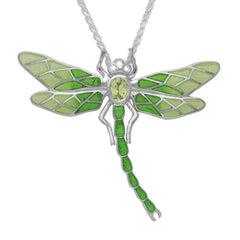 Sterling Silver Diamond Peridot Enamel House Style Dragonfly Necklace