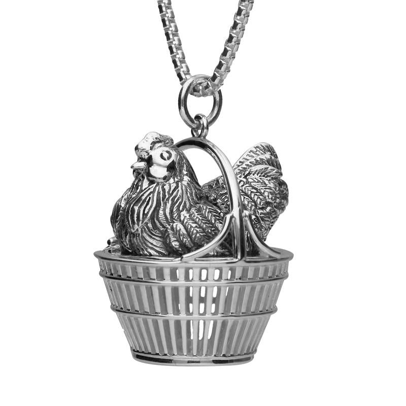 Sterling Silver Easter Large Hen in Basket Necklace