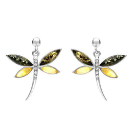 Sterling Silver Green Amber Cubic Zirconia Dragonfly Drop Earrings E2326