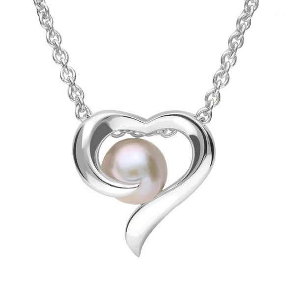 Sterling Silver Grey Vermeil Pearl Twisted Open Heart Necklace P2771C