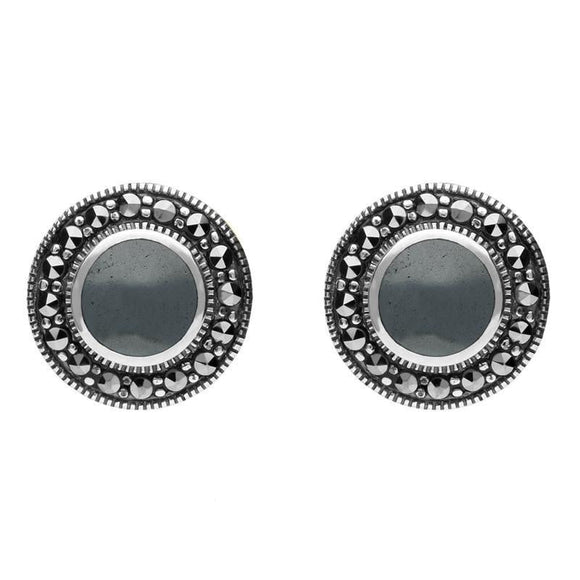 Sterling Silver Hematite Marcasite Round Beaded Edge Stud Earrings E1633