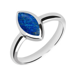 Sterling Silver Lapis Lazuli Marquise Ring. R404.