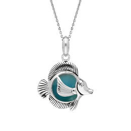 Sterling Silver Larimar Single Stone Angel Fish Necklace P2585