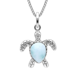 Sterling Silver Larimar Tiny Single Stone Turtle Necklace P2578