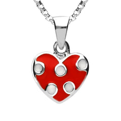 Sterling Silver NSPCC Enamel Red and White Spotty Heart Necklace