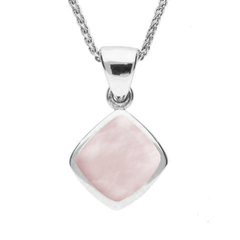 Sterling Silver Pink Mother of Pearl Dinky Cushion Necklace