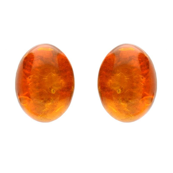 Sterling Silver Red Amber Oval Stud Earrings. E2337.
