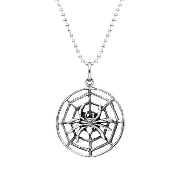 Sterling Silver Spider Web Necklace P3435C