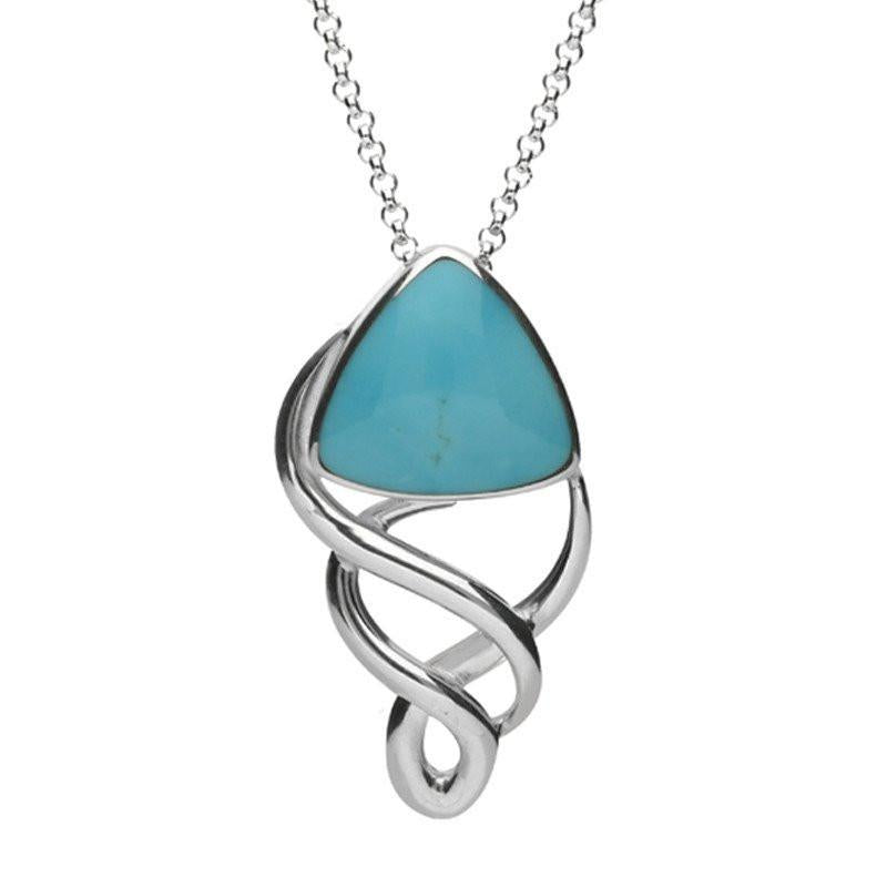 Sterling Silver Turquoise Curved Triangle Celtic Necklace