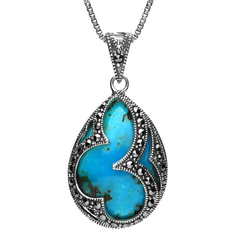 Sterling Silver Turquoise Marcasite Large Pear Shape Necklace
