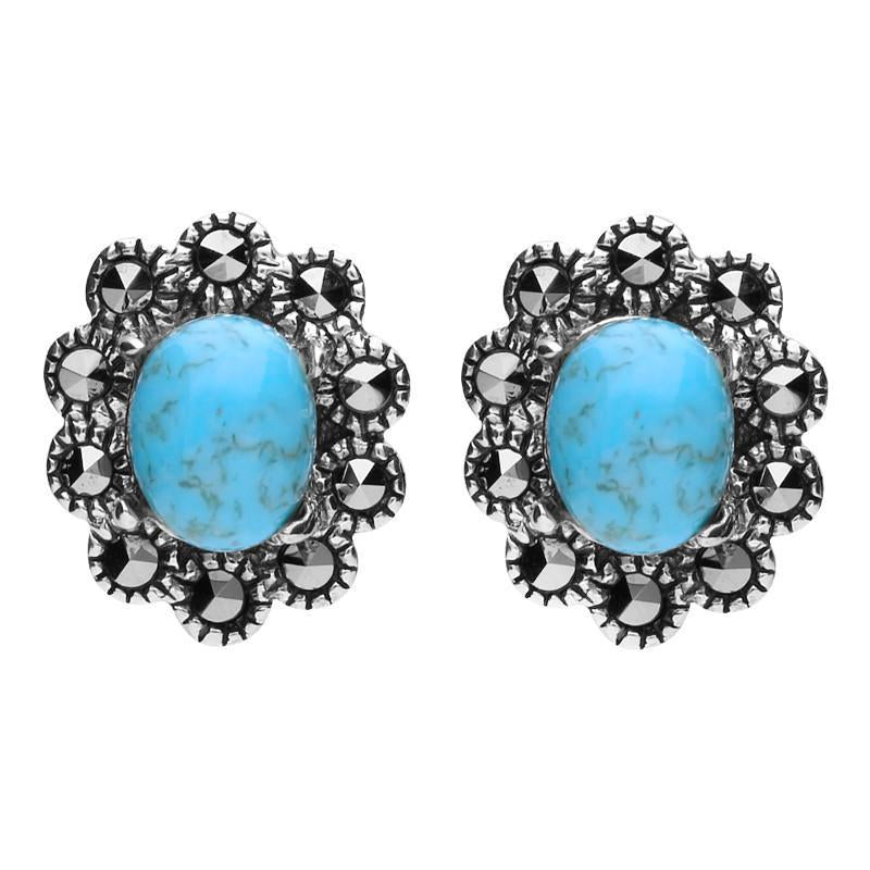 Sterling Silver Turquoise Marcasite Oval Beaded Edge Stud Earrings