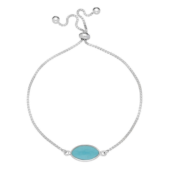 Sterling Silver Turquoise Marquise Stone Adjustable Bracelet, B1129.