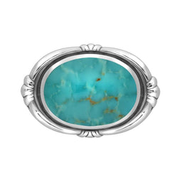 Sterling Silver Turquoise Oval Fleur Brooch M057