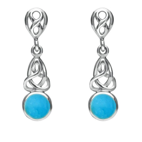 Sterling Silver Turquoise Round Celtic Dropper Earrings
