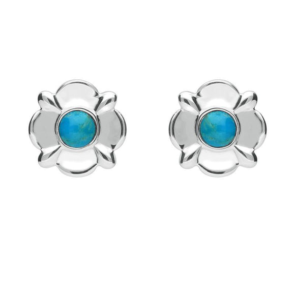 Sterling Silver Turquoise Round Four Petal Flower Stud Earrings E1624