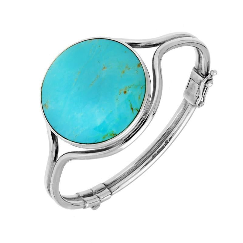 Sterling Silver Turquoise Round Hinged Bangle