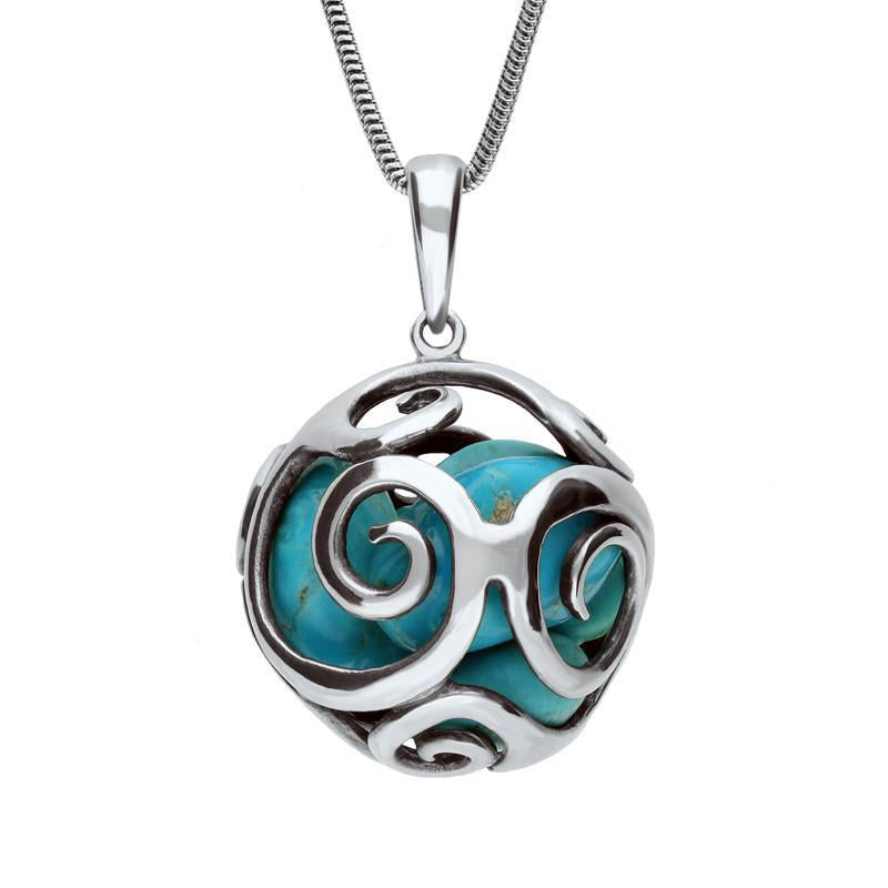 Sterling Silver Turquoise Swirl Cage Bead Necklace